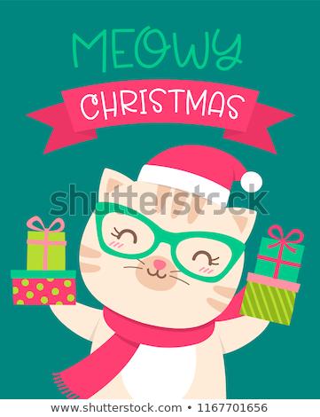 ストックフォト: 漫画 · クリスマス · ペット · 猫 · 着用