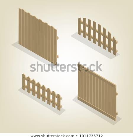 set of isometric spans wooden fences vector illustration stock photo © kup1984