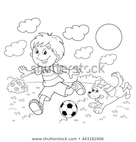 kid boy pets coloring page stock photo © lenm