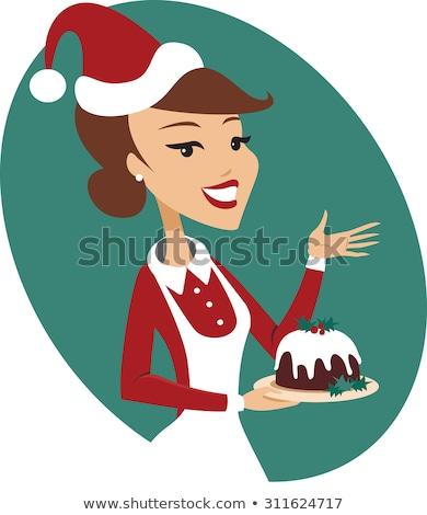 Szakács tart karácsony puding rajzfilmfigura tökéletes Stock fotó © Krisdog