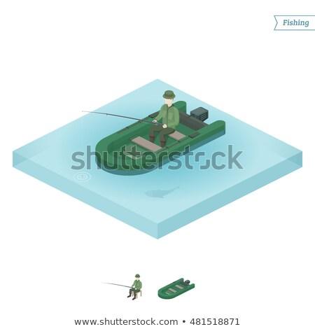 Férfi halászat tó izometrikus 3D alkotóelem Stock fotó © studioworkstock