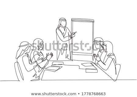 Arab hangszóró üzlet bemutató és titkárnő Stock fotó © studioworkstock