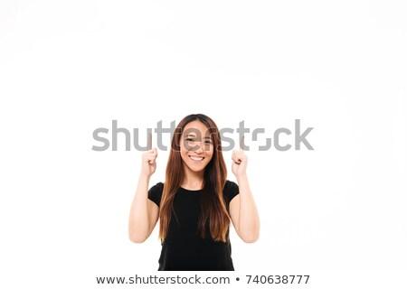 mujer · sonriente · blanco · camiseta · senalando · gesto · anuncio - foto stock © deandrobot
