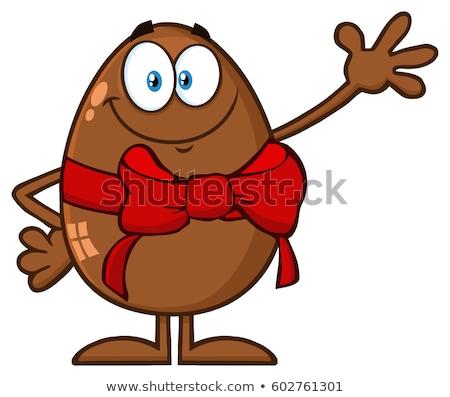 Ciocolată ou mascota de desene animate salut Imagine de stoc © hittoon