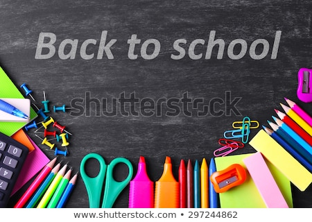 back to school text on blackboard accessories for study stock photo © orensila