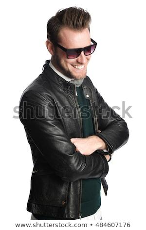 Alegre homem preto jaqueta de couro óculos de sol Foto stock © feedough
