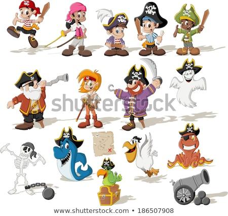 Cartoon pirata scheletro mappa del tesoro illustrazione dancing Foto d'archivio © cthoman