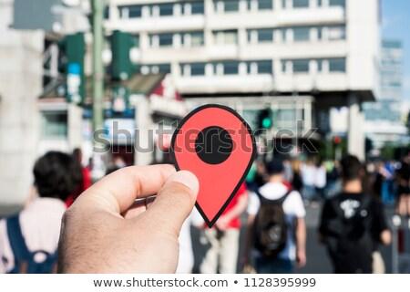 Férfi piros jelző gyalogos utca közelkép Stock fotó © nito