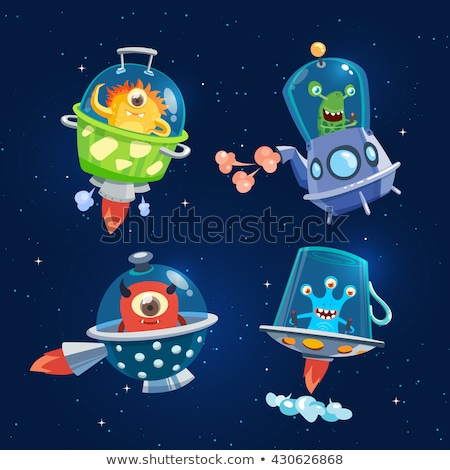 Angry Cartoon Alien UFO Stock photo © cthoman