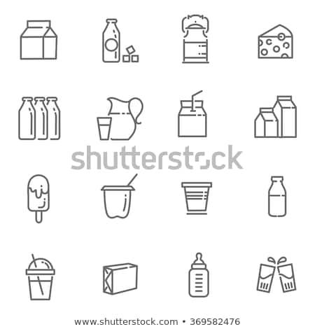 Tej termékek ikonok illusztráció ikon gyűjtemény étel Stock fotó © olegtoka