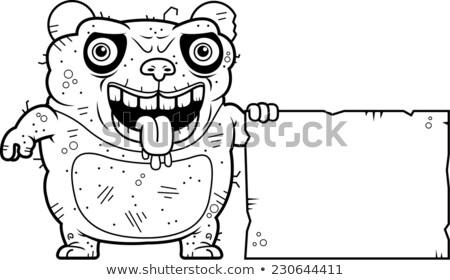 Csúnya panda felirat rajz illusztráció medve Stock fotó © cthoman