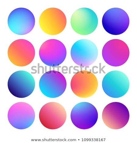 Rounded holographic gradient sphere button. Multicolor fluid circle gradients, colorful soft round b Stock photo © MarySan