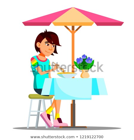 Teen Girl Eating Chinese Noodles Vector. Isolated Illustration Stock photo © pikepicture