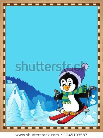 Parşömen kayakçılık penguen kâğıt mutlu spor Stok fotoğraf © clairev
