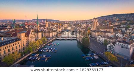 Zurich waterfront landmarks autumn colorful view Stock photo © xbrchx