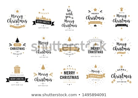 christmas labels collection with gingerbread stock photo © balasoiu