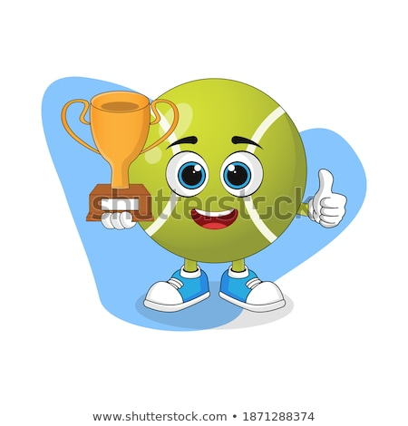 Glücklich Tennisball Zeichentrickfigur halten Trophäe Tasse Stock foto © hittoon
