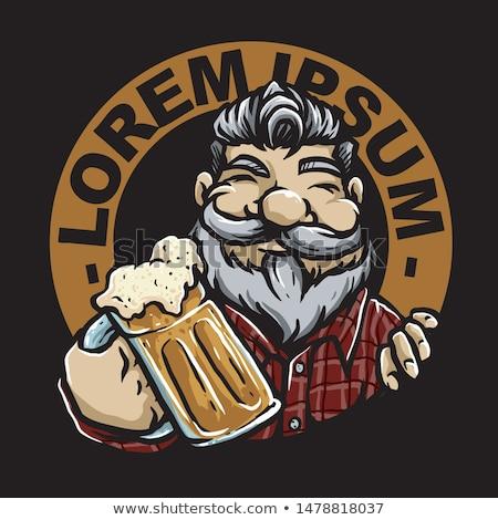 Bira adam içecekler logo komik karikatür Stok fotoğraf © rogistok