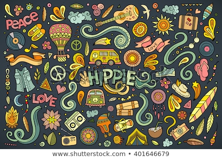 cartoon set of hippie objects and symbols stock photo © balabolka