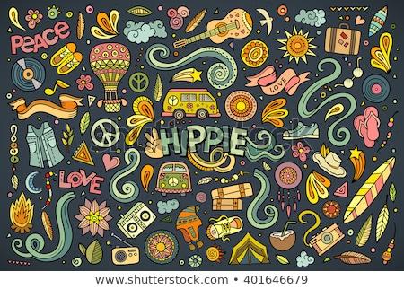 Cartoon set of Hippie objects and symbols Stock photo © balabolka