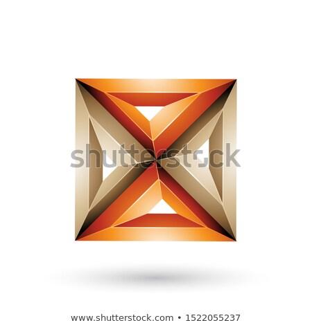 Arancione beige 3D geometrica piazza triangolo Foto d'archivio © cidepix