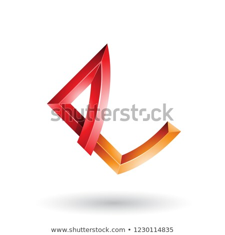 Stock photo: Red and Orange Embossed Letter E with Bended Joints Vector Illus