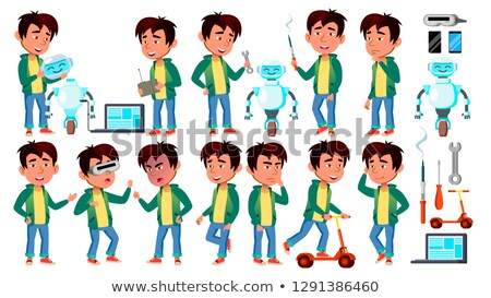 asian boy schoolboy kid poses set vector primary school child funny children junior lifestyle f stock photo © pikepicture