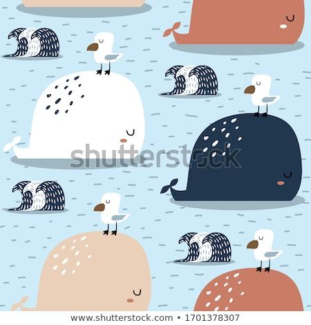 Cute whale seamless pattern Stock photo © colematt