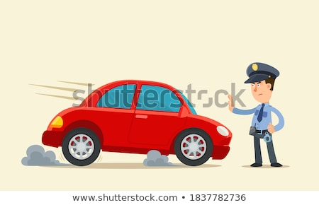 полицейский остановки жест Поп-арт ретро Сток-фото © studiostoks