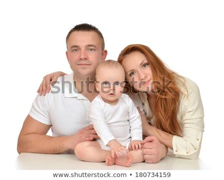 Père mains rouge maison Photo stock © dolgachov