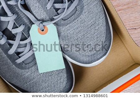 Sneakers with Blank Price Tag, Footwear Shopping Stock photo © robuart