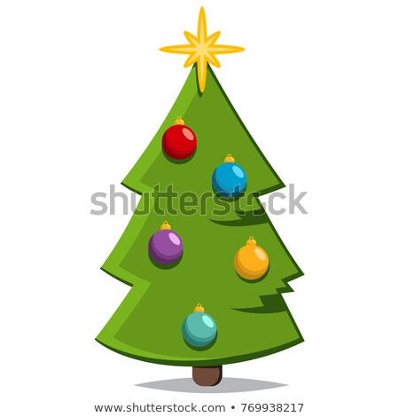 spruce tree topped by star vector icon isolated stock photo © robuart