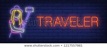 glowing neon signboard travel agency vector illustration Stock photo © konturvid