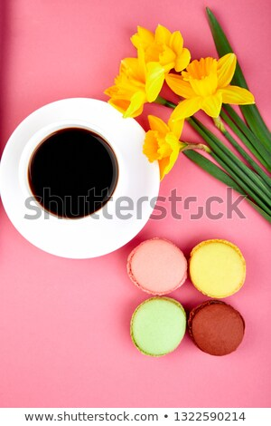 Colorful flat lay with flowers narcissus macaroons and coffee Stock photo © Illia