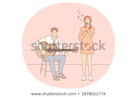 çift şarkı söyleme şarkı sahne vektör mikrofon Stok fotoğraf © robuart