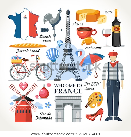 Set of elements of French culture. Welcome to France. Vector ill Stock photo © Arkadivna