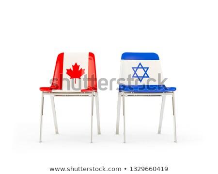 Zwei Stühle Fahnen Kanada Israel isoliert Stock foto © MikhailMishchenko