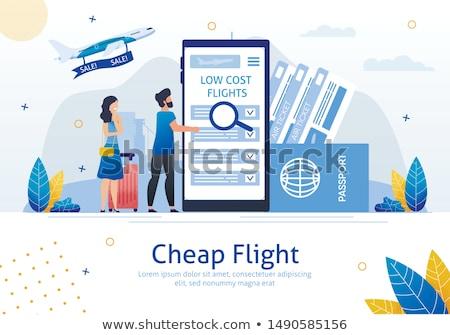 Olcsó repülőjáratok vektor költségvetés levegő jegyek Stock fotó © RAStudio