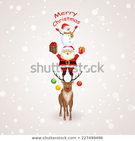 Happy Santa, a deer and a snowman on Christmas Eve 1 Stock photo © liolle