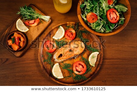 Salmon Stake with Fresh Vegetable stock photo © colematt