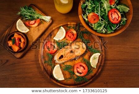 Foto stock: Salmão · ilustração · peixe · fundo · arte