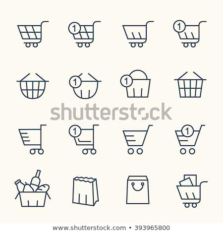 Einkaufskorb Vektor Symbol linear Gliederung Stil Stock foto © robuart