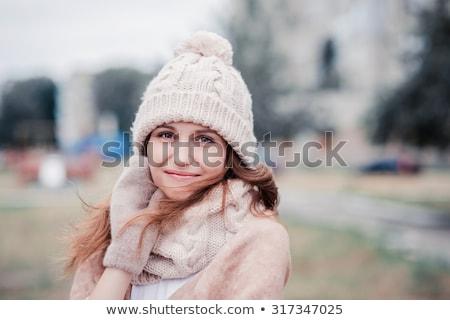 Stockfoto: Gelukkig · vrouw · winter · bont · hoed · buitenshuis