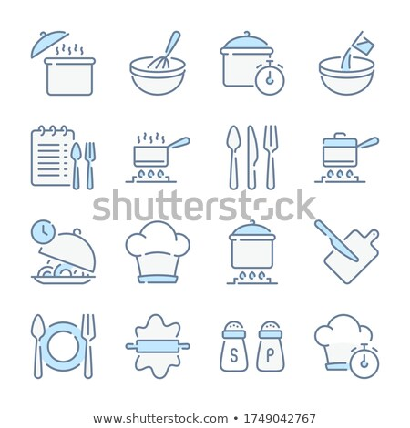 plate fork and knife related vector line icon stock photo © smoki