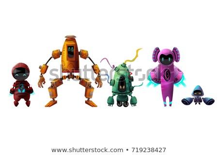 robots · groep · cartoon · illustratie · grappig · glimlach - stockfoto © izakowski