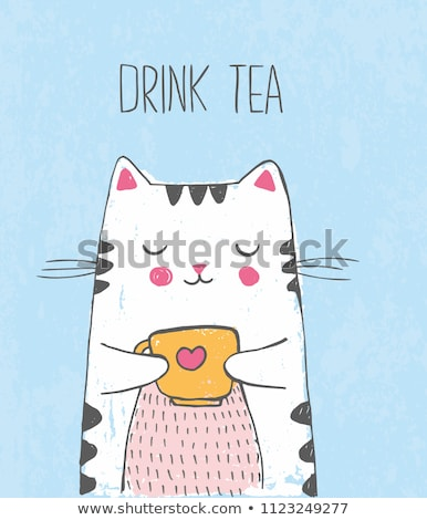 Steaming warm drink with doodles Foto stock © ra2studio