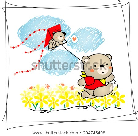 ours · herbe · cartoon · illustration · cute · séance - photo stock © bluering