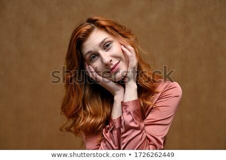 ストックフォト: 写真 · 美しい · 若い女性 · 長い · 黒い髪 · 着用