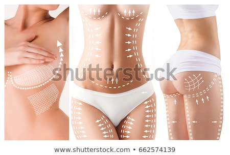 womans belly with drawing arrows and lines stock photo © andreypopov