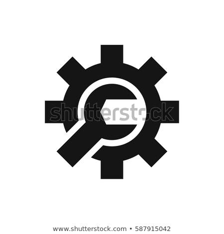 Stockfoto: Sleutel · versnelling · icon · symbool · ontwikkeling · geïsoleerd